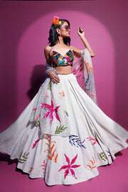 Moss crepe embroidered lehenga set