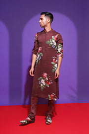 printed wrinkle crepe kurta and cotton churidaar - Brown