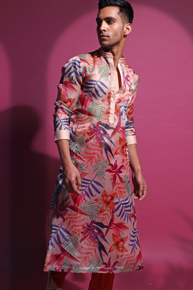 Printed organza kurta and cotton churidaar
