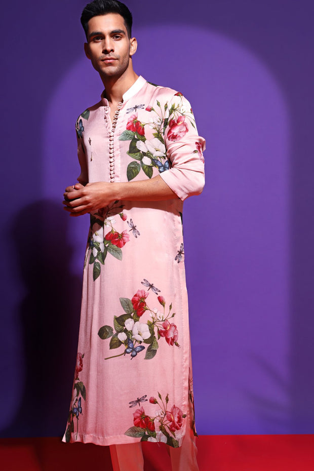 Printed wrinkle crepe kurta and cotton churidaar - Blush
