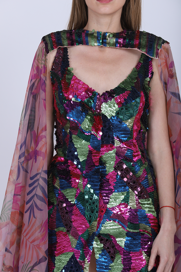 Heavy Embroidered Mosaic Dress With Cape