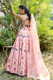 Blush heavy embroidered lehenga set