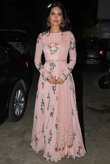 Esha Gupta in Rose Pink Printed Anarkali Set