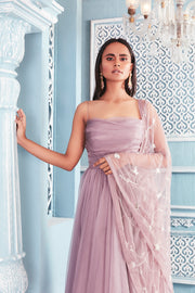 Rouched body organza anarkali