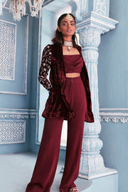 Velvet blazer set with embellished sleeves and crop top
