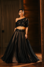 One Off Shoulder Trail Lehenga Set
