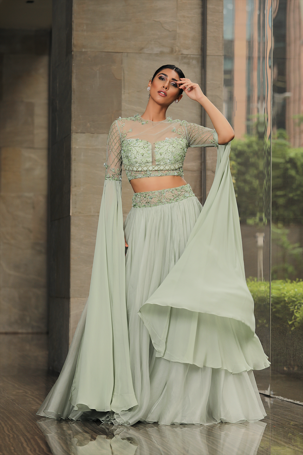 Pista Green Floor Length Lehenga Set