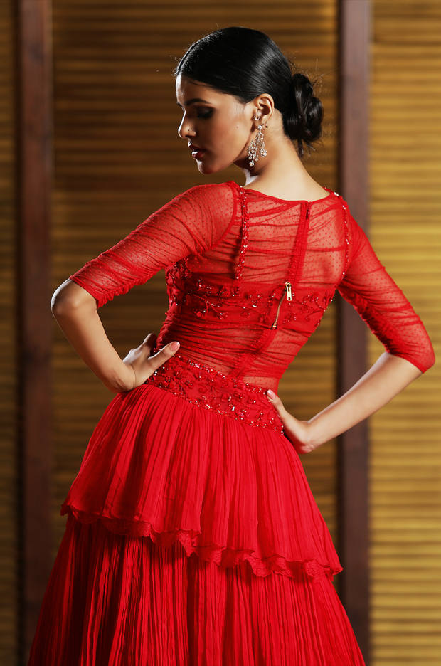 Red Embelished Body Suit Lehenga Set