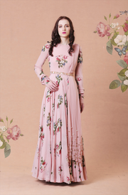 Rose Pink Printed Anarkali Set