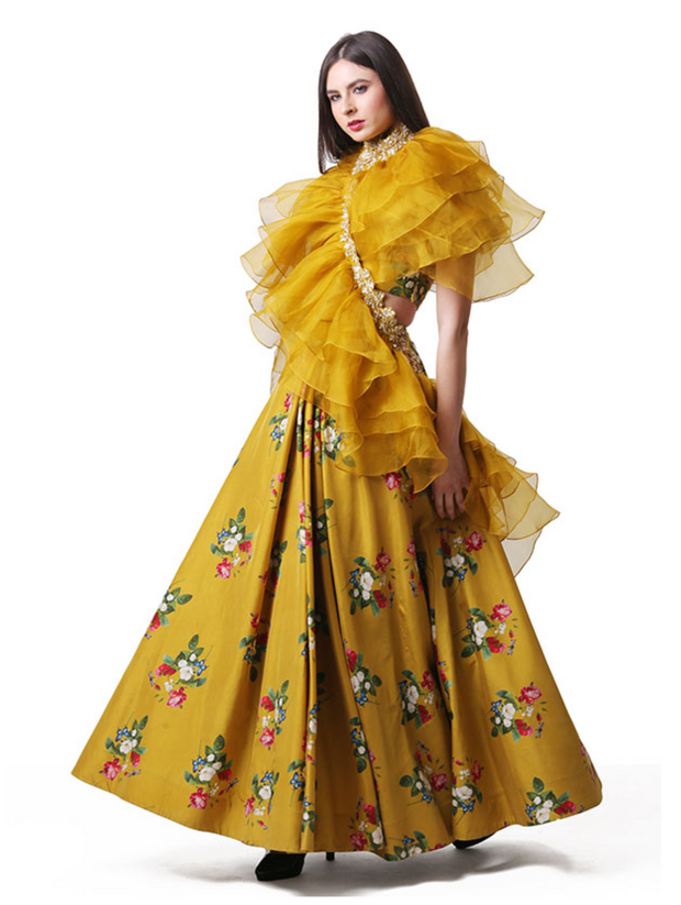 Printed Lehenga And Ruffle Dupatta Set