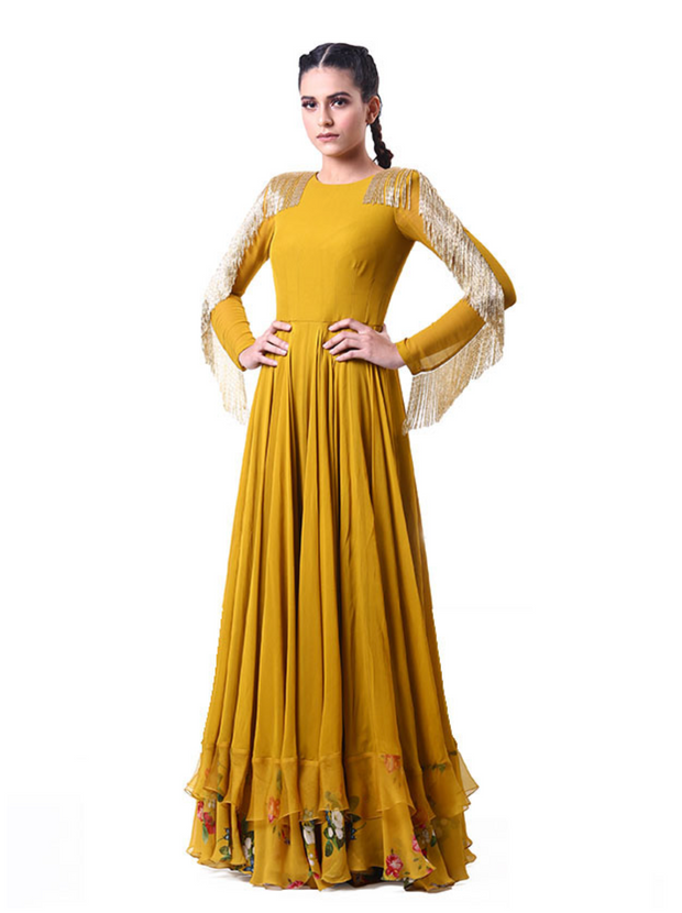 Tasseled Sleeve Anarkali