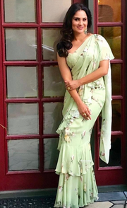 Lara Dutta in Sage Green Ruffled Saree