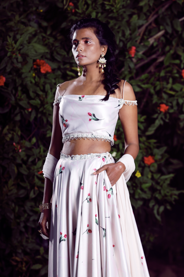 Ivory off shoulder blouse lehenga set