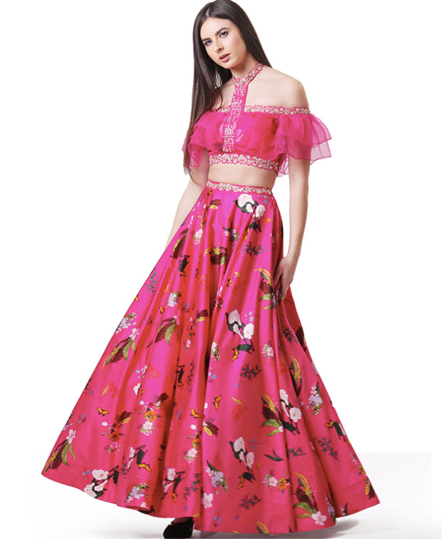 Off Shoulder Lehenga Set