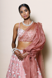 Corset blouse with organza sleeve and full embellished lehenga set