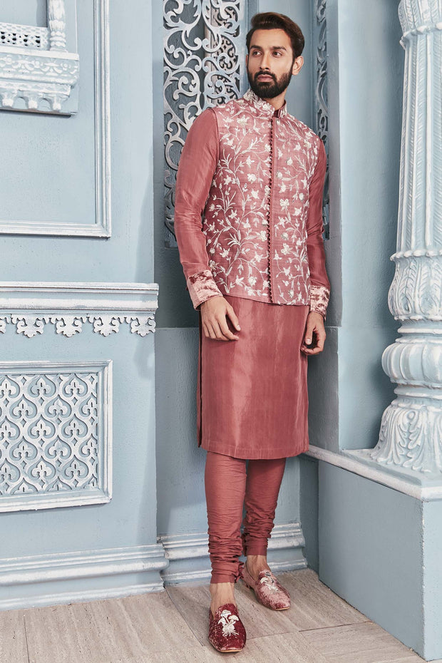 Embroidered Nehru Jacket Set