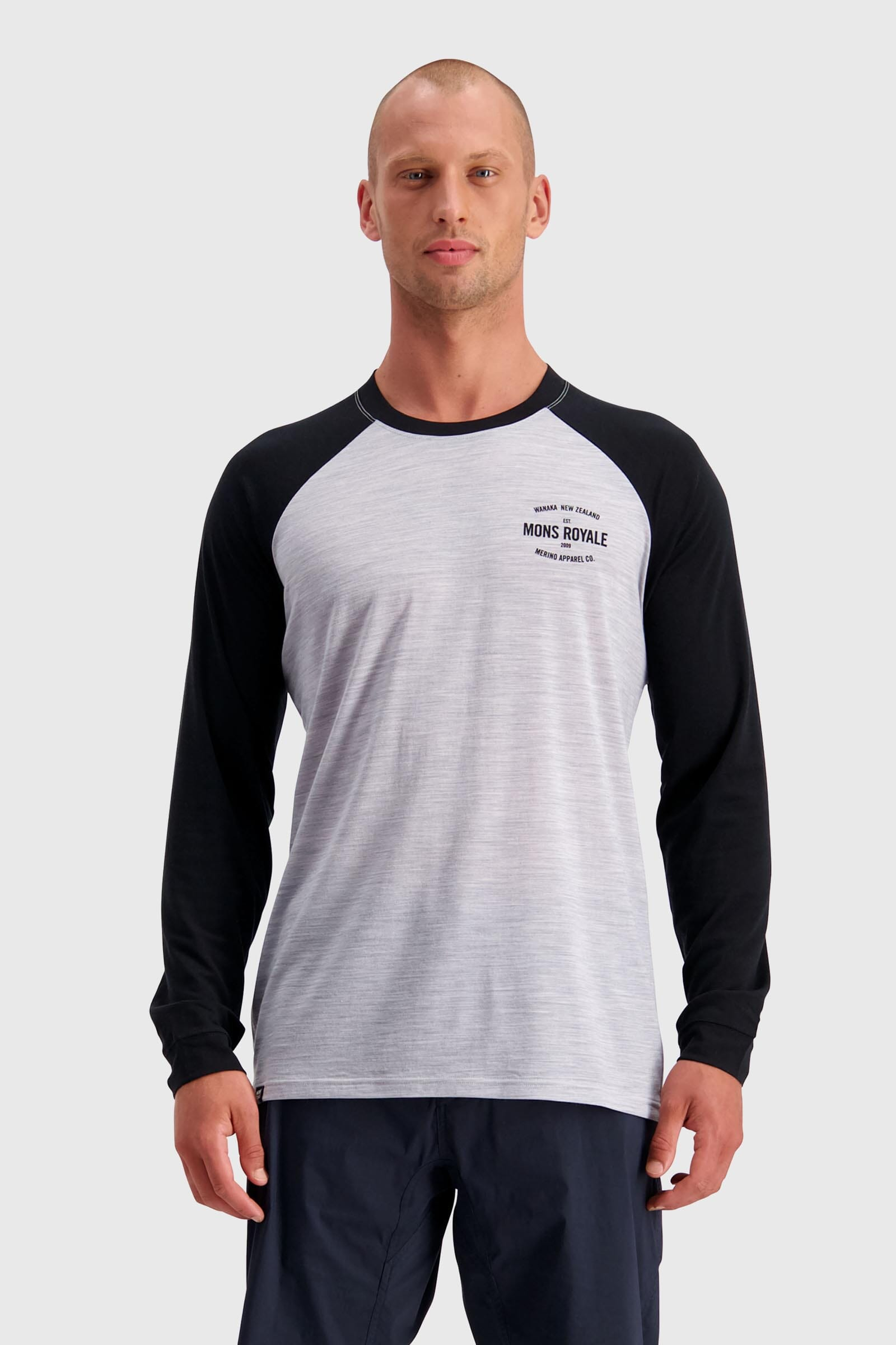 ICON Raglan LS - Black / Grey Marl