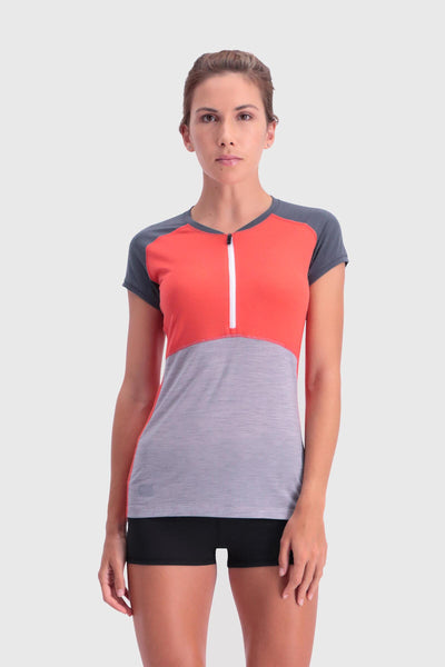 Bella Tech Zip Tee - Poppy / Charcoal / Grey Marl