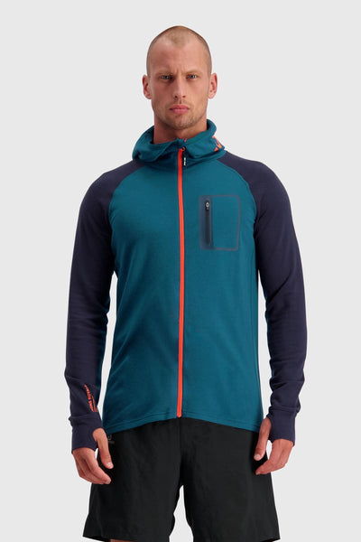 Traverse Midi Full Zip Hood - Atlantic / Orange Smash