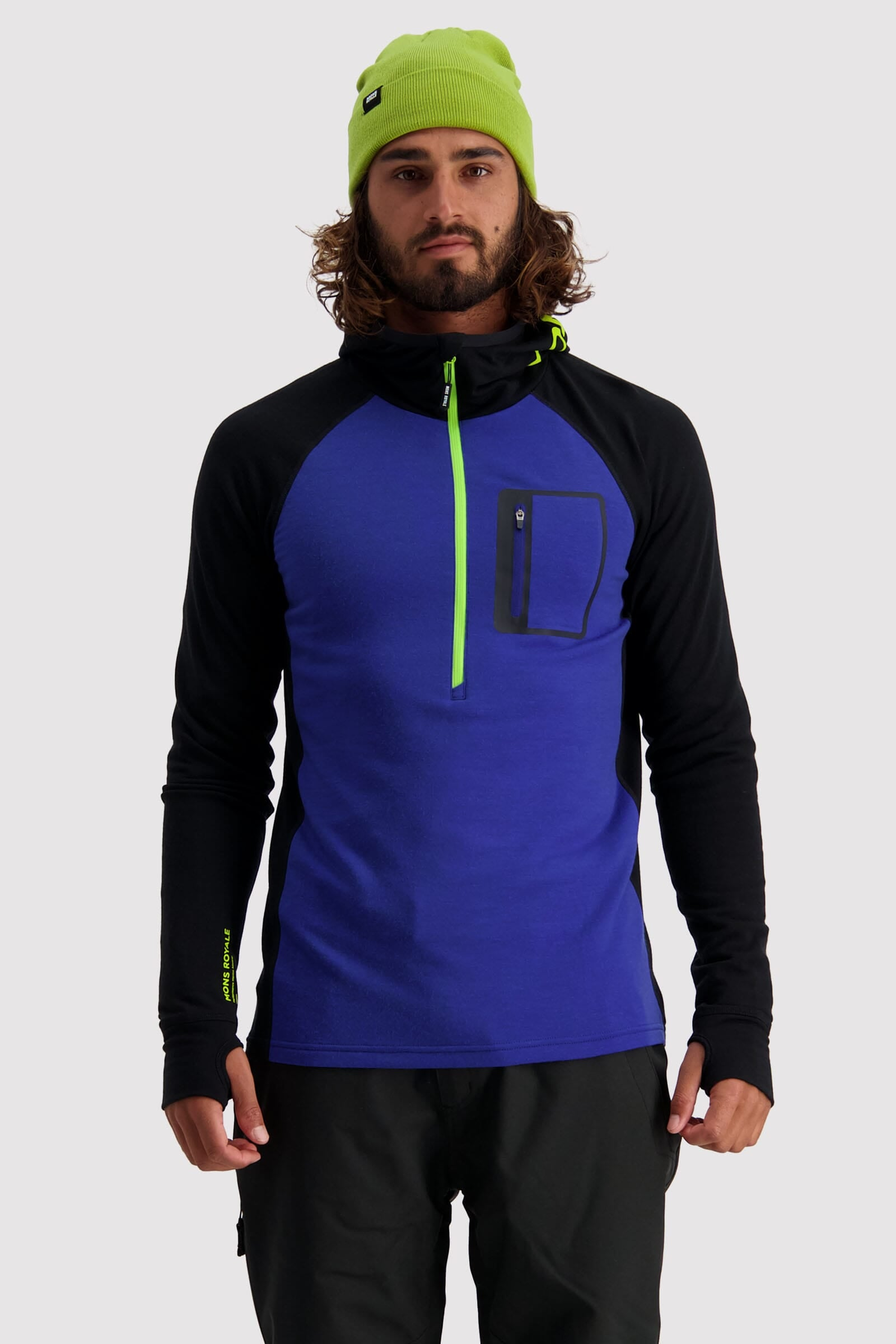 Traverse Midi Half Zip Hood - Ultra Blue / Black