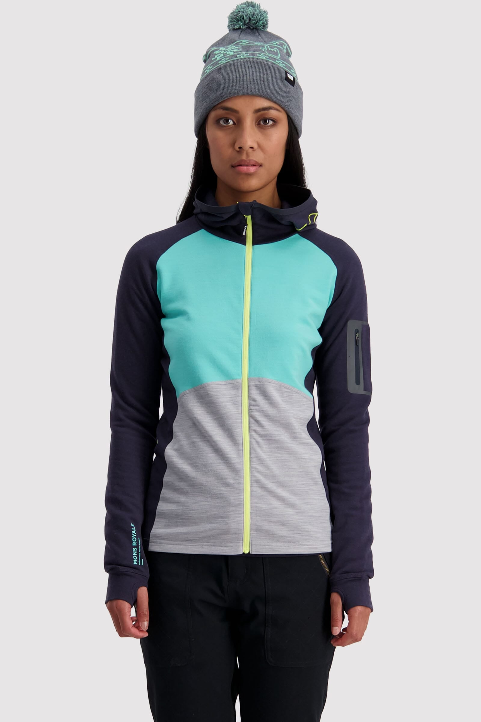 Ascend Midi Full Zip Hood - Mint Edge