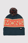 Pom-Pom Beanie - Atlantic / Orange Smash