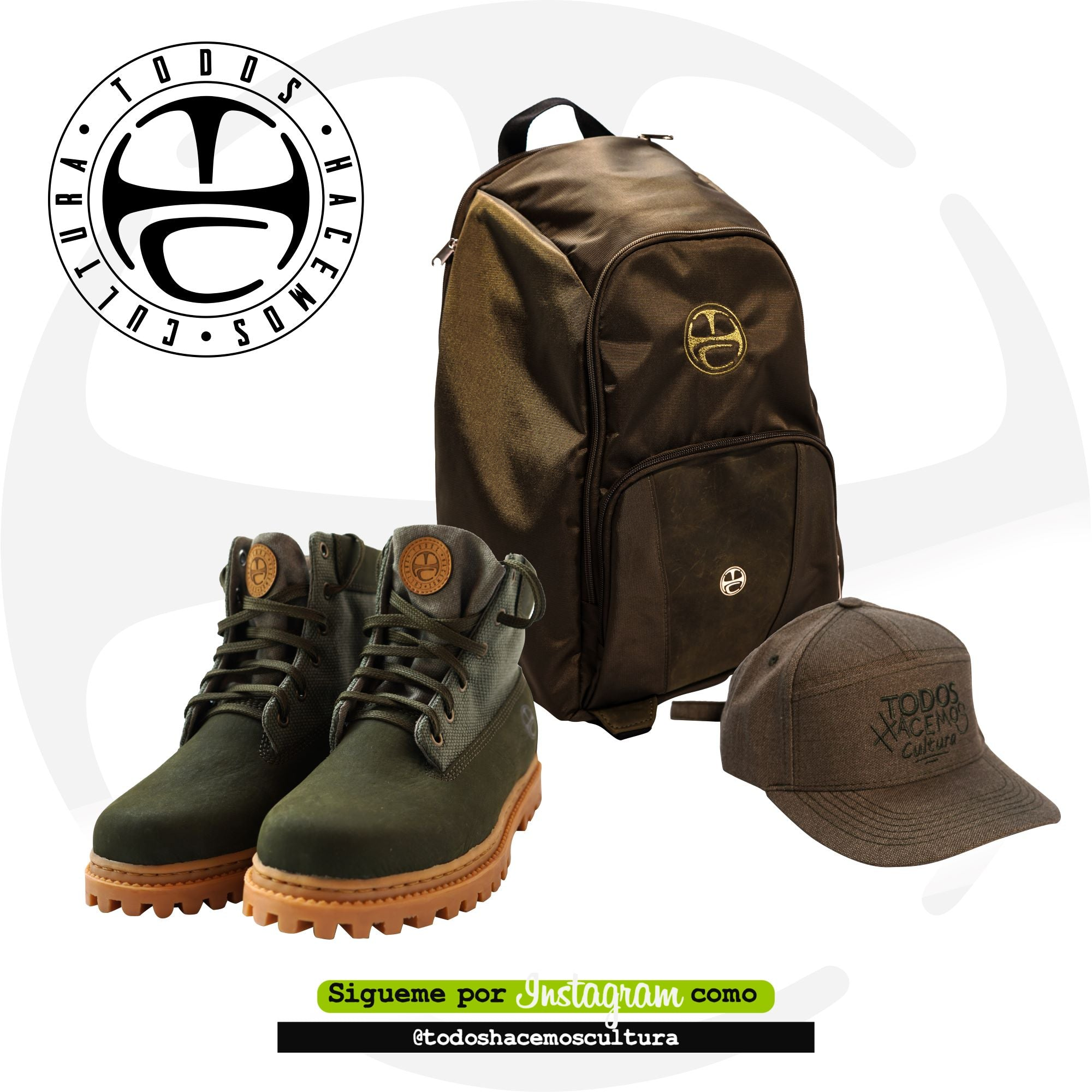 KIT 14L GREEN: MORRAL, BOTAS, GORRA