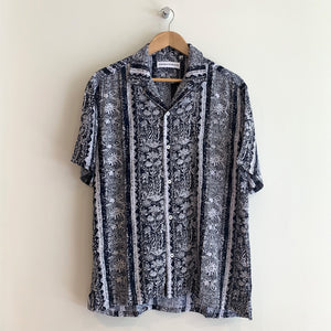 Mission Camp Shirt - Navy Floral Stripe Print - Gingers & Providence