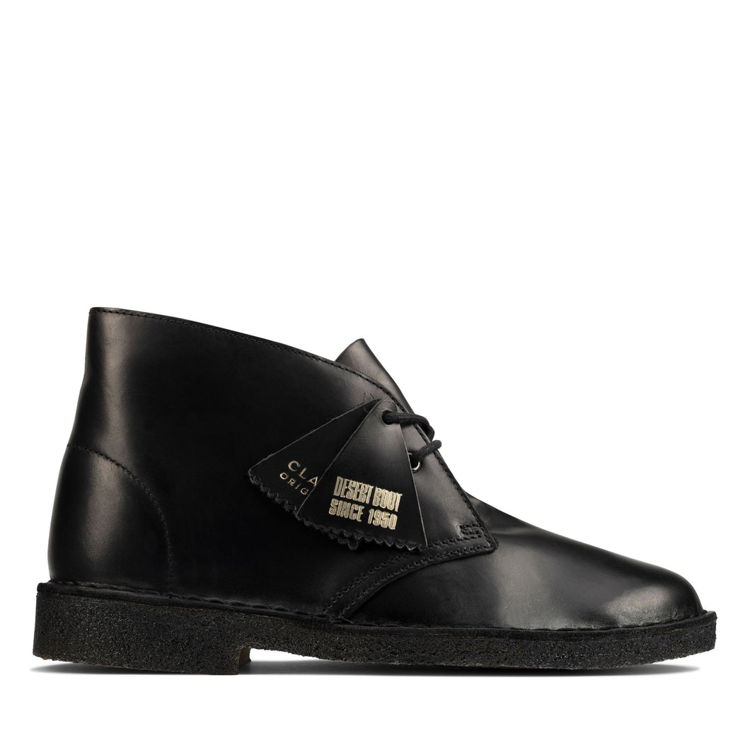 Desert Boot - Black Polished Leather