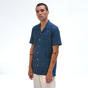 Stachio Short Sleeve Shirt- Textured Stripe Ensign Blue