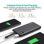 8000mAh Portable Charger 4.8A High-Speed Dual Output, Built-in Lightning Cable [Apple MFi Certified], LCD Display for iPhone External Battery