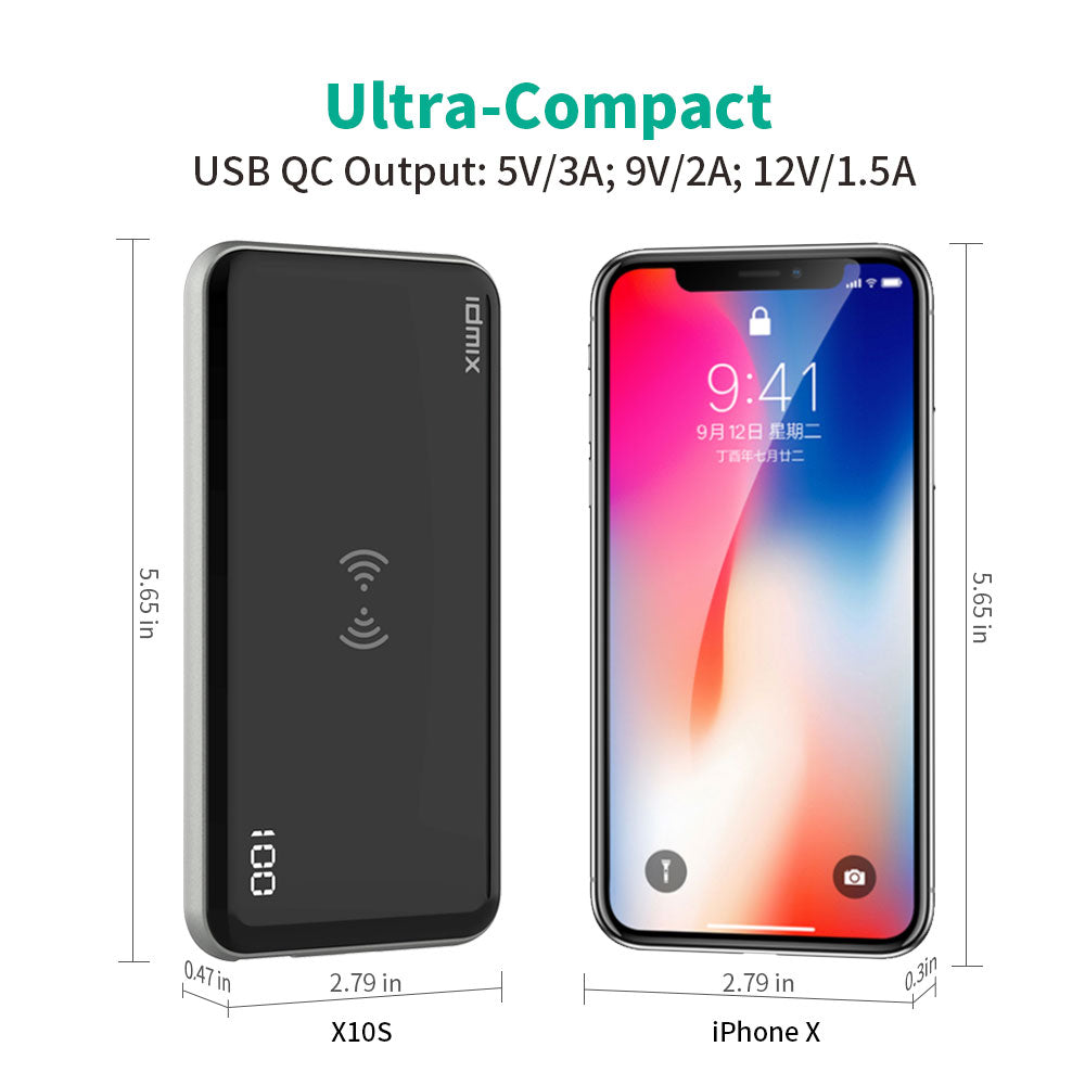 10000mAh Power Bank with LED Digital Display, Wireless Portable Charger 3 Output & Dual Input External Battery Pack QC3.0 & PD3.0 for Smartphones (Black)