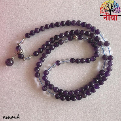 AMETHYST + CLEAR QUARTZ - 108 BEADS MALA - Neeva Holistic Care