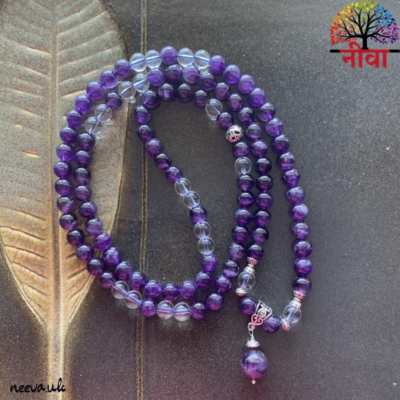 AMETHYST + CLEAR QUARTZ - 108 BEADS MALA
