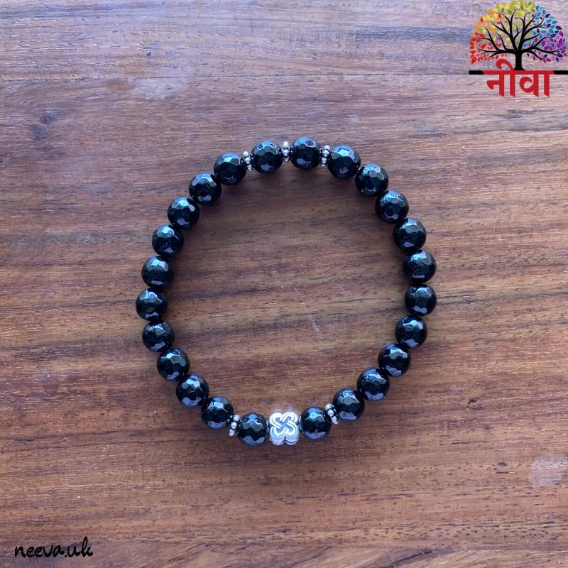 BLACK ONYX FACETED - SILVER
