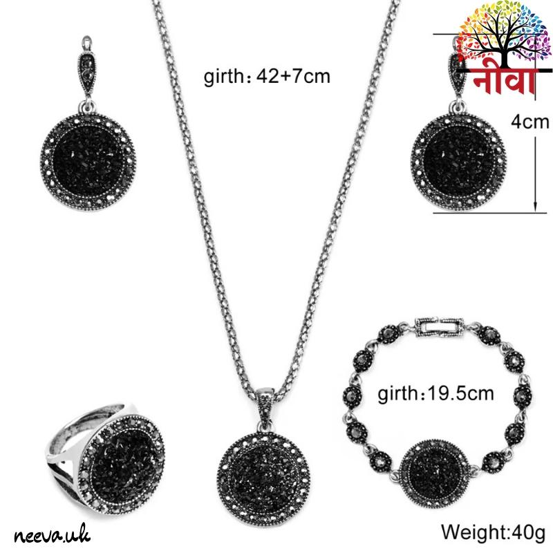 Black Rhinestone Jewelry Set