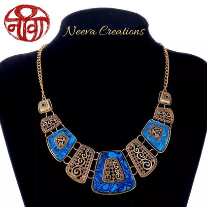 Boho Enamled Necklace - Dark Blue - Neeva Holistic Care