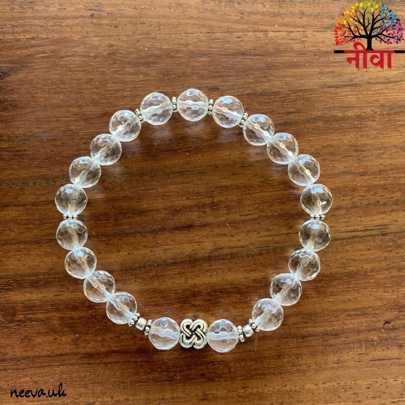 CRYSTAL QUARTZ FACETED -SILVER