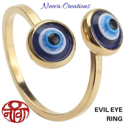 EVIL EYE FINGER RING - ADJUSTABLE - Neeva Holistic Care