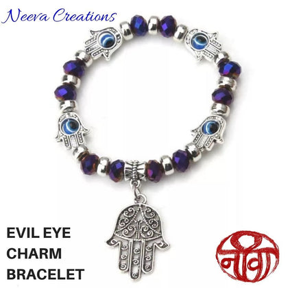 Evil Eye Hamsa Hand Bracelet - Blue Color - Neeva Holistic Care