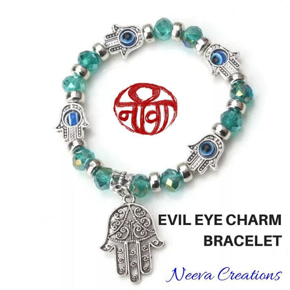 Evil Eye Hamsa Hand Bracelet - Green Color - Neeva Holistic Care