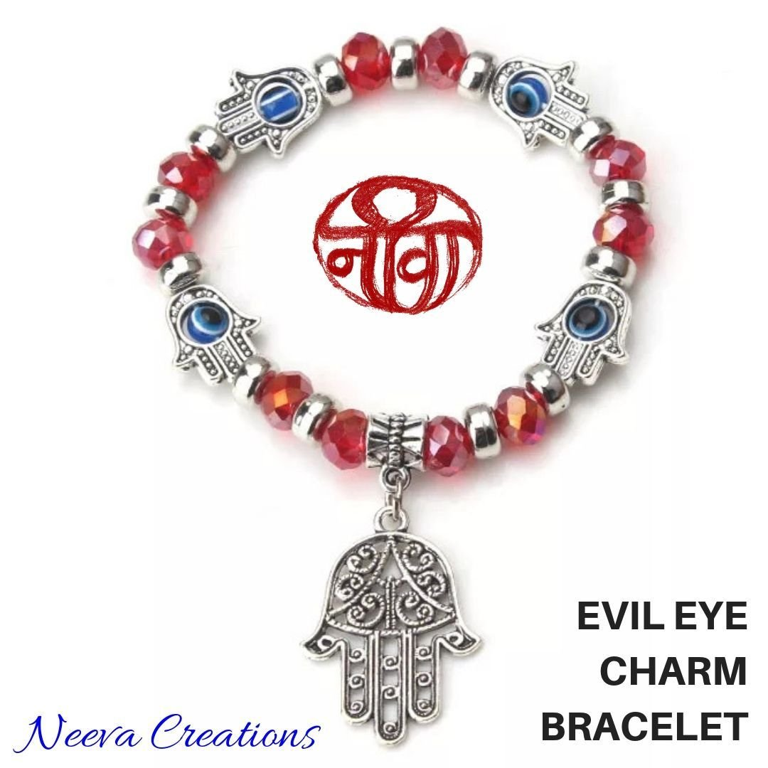 Evil Eye Hamsa Hand Bracelet - Red Color