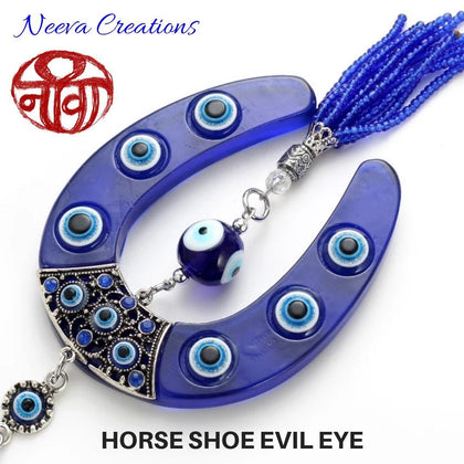 Evil Eye Horse Shoe Glass - Wall Hanging - Neeva Holistic Care