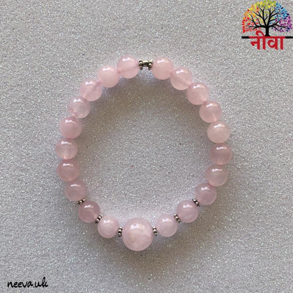 Rose Quartz - Silver Bracelet - Neeva Holistic Care
