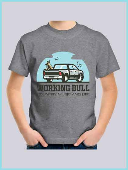 Working Bull Kids Tee - Grey