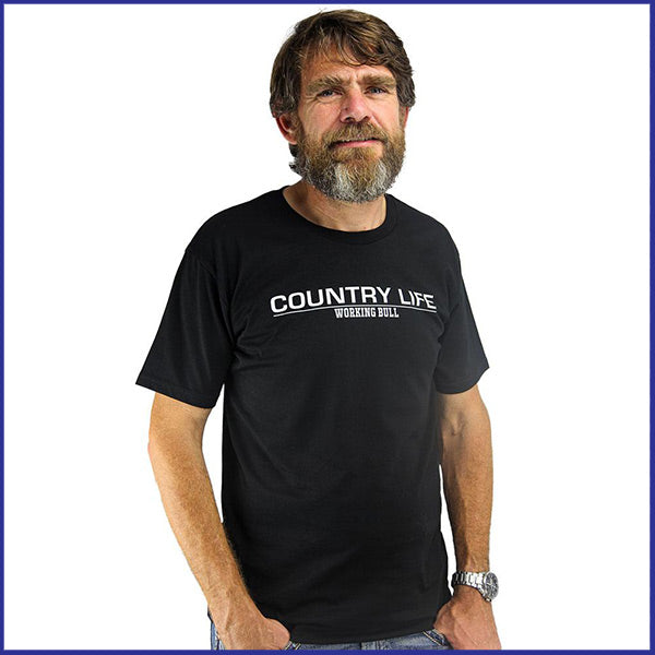 'Country Life' Mens T-shirt - Black