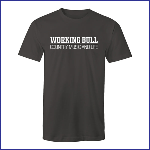 'Working Bull' Mens Tee - Charcoal