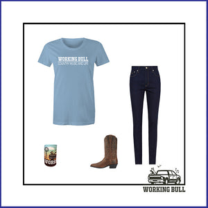 'Working Bull' Womens Tee - Carolina Blue