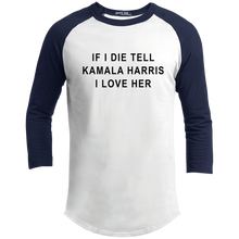 "Load image into Gallery viewer, ""If I Die, Tell Kamala Harris I Love Her"" Classic Fit 3/4 Sleeve Colorblock T-Shirt-T-Shirts-plussizefor"