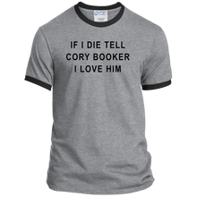 "Load image into Gallery viewer, ""If I Die, Tell Cory Booker I Love Him"" Classic Fit Ringer T-Shirt-T-Shirts-plussizefor"